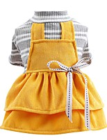 cheap -Dog Dress Color Block Party Cute Christmas Party Dog Clothes Breathable Yellow Costume Polyster XS S M L XL