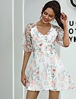 cheap -Women's A-Line Dress Short Mini Dress - Half Sleeve Floral Print Summer V Neck Casual Mumu Holiday Going out Loose 2020 White S M L