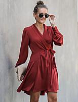 cheap -Women's A-Line Dress Knee Length Dress - Long Sleeve Solid Color Patchwork Fall V Neck Casual Elegant Lantern Sleeve Slim 2020 Wine S M L XL