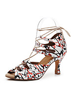 cheap -Women's Latin Shoes Heel Flared Heel PU Leather Red / White