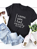 cheap -Women's T-shirt Letter Print Round Neck Tops 100% Cotton Basic Basic Top Black