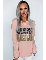 cheap -Women's Daily Pullover Hoodie Sweatshirt Leopard Cheetah Print Basic Hoodies Sweatshirts  Loose Blushing Pink