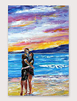 cheap -IARTS Hand Painted Love by the sea Oil Painting with Stretched Frame For Home Decoration With Stretched Frame