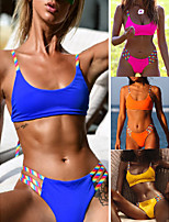 cheap -Women's Sexy Bikini Swimsuit Cut Out Print Rainbow Scoop Neck Swimwear Bathing Suits Blue Yellow Fuchsia Orange