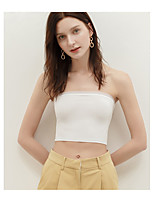 cheap -Women's Tank Top Solid Colored Mesh Patchwork Off Shoulder Tops Basic Basic Top White Black