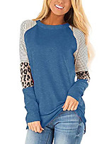 cheap -womens long sleeve t shirts round neck color block leopard print stripe casual tunic tops blouses leopard blue-s