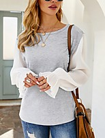 cheap -Women's Blouse Shirt Solid Colored Long Sleeve Ruffle Round Neck Tops Basic Basic Top Gray