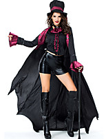cheap -Vampire Cosplay Costume Outfits Adults' Women's Cosplay Halloween Halloween Festival / Holiday Polyester Black Women's Easy Carnival Costumes / Coat / Top / Shorts / Hat / Neckwear
