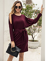cheap -Women's Shift Dress Knee Length Dress - Long Sleeve Solid Color Summer Casual Daily 2020 Wine S M L XL