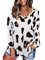 cheap -Women's Tunic Leopard Long Sleeve Print V Neck Tops Loose Basic Basic Top White Khaki