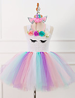 cheap -Unicorn Dress Costume Girls' Movie Cosplay Tutus Plaited White / Pink / Green Dress Headwear Christmas Halloween Carnival Polyester / Cotton Polyester