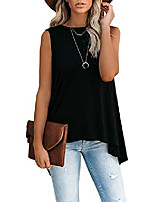 cheap -womens summer sleeveless flowy tunic cami shirts casual high low tank tops loose blouses white small