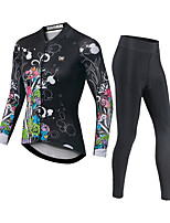 cheap -CAWANFLY Men's Long Sleeve Cycling Jersey with Bib Tights Black Bike Moisture Wicking Sports Mountain Bike MTB Road Bike Cycling Clothing Apparel / Expert / Racing / Stretchy / Athletic / Triathlon