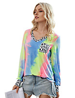 cheap -Women's T-shirt Leopard Tie Dye Cheetah Print Long Sleeve Print V Neck Tops Basic Basic Top Blue Yellow Green