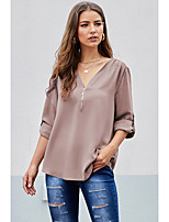 cheap -Women's Blouse Solid Colored Zipper V Neck Tops Loose Streetwear Basic Top Black Red Khaki