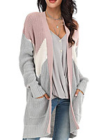cheap -Women's Basic Pocket Color Block Cardigan Long Sleeve Sweater Cardigans Open Front Fall Winter Blue Blushing Pink Gray