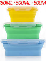 cheap -Portable Silicone Lunch Box Set Folding Microwave Safe Lunch Box Food Container