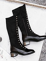 cheap -Women's Boots Wedge Heel Pointed Toe British Daily Rivet Solid Colored PU Mid-Calf Boots Black