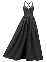 cheap -A-Line Elegant Minimalist Party Wear Formal Evening Dress Spaghetti Strap Sleeveless Floor Length Lace with Pleats 2020