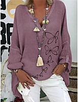 cheap -Women's Tunic Solid Colored Long Sleeve V Neck Tops Loose Cotton Basic Top White Purple Blushing Pink