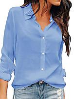 cheap -women button down shirts long sleeve chiffon office casual blouses & #40;xxl, light blue& #41;