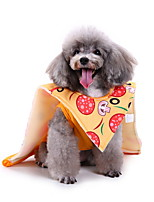 cheap -Dog Halloween Costumes Costume Shirt / T-Shirt Cartoon Pizza Birthday Cute Christmas Party Dog Clothes Breathable Yellow Costume Polyester S M L XL