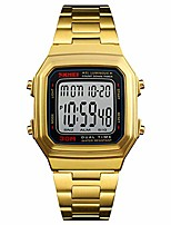 cheap -men's gold watches, waterproof digital watch with square face stainless steel band countdown stopwatch alarm (gold black)