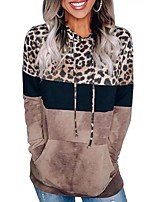 cheap -Women's Daily Pullover Hoodie Sweatshirt Leopard Cheetah Print Front Pocket Casual Hoodies Sweatshirts  Loose Brown