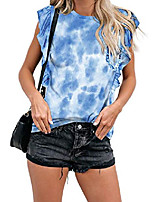cheap -womens plus size summer sleeveless ruffled denim blue tie dye printed shirts pockckets tank tops cute soft cotton blouse xxl