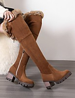 cheap -Women's Boots Wedge Heel Round Toe Classic Daily Bowknot Solid Colored Nubuck Over The Knee Boots Black / Brown