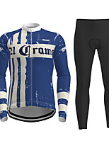 cheap -21Grams Men's Long Sleeve Cycling Jersey with Tights Winter Polyester Dark Blue Novelty Bike Jersey Tights Clothing Suit Breathable Quick Dry Moisture Wicking Back Pocket Sports Novelty Mountain Bike