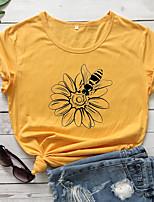 cheap -Women's T-shirt Graphic Prints Print Round Neck Tops 100% Cotton Basic Basic Top White Black Purple