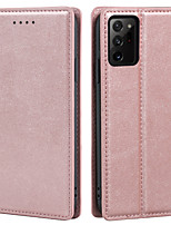 cheap -Case For Samsung Galaxy A71 A21 A01 A21S A51 Note 20 Note 20 Ultra Card Holder Flip Full Body Cases Solid Colored PU Leather