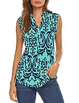 cheap -women's casual tops v neck paisley printed shirts sleeveless tunic blouses green1 xxl 2x