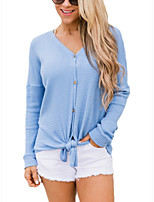 cheap -Women's Basic Knitted Solid Color Plain Pullover Long Sleeve Loose Sweater Cardigans V Neck Fall Winter Blue Blushing Pink Dusty Rose