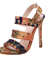 cheap -Women's Sandals Stiletto Heel Peep Toe Sexy Daily Party & Evening Floral Canvas Walking Shoes Blue