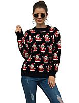 cheap -Women's Christmas Geometric Sweater Long Sleeve Sweater Cardigans Crew Neck Round Neck Spring Fall Black