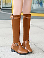 cheap -Women's Boots Wedge Heel Round Toe Classic Daily Solid Colored PU Over The Knee Boots Black / Blue / Brown