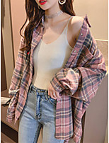 cheap -Women's Going out Blouse Shirt Plaid Check Long Sleeve Shirt Collar Tops Cotton Basic Basic Top Blue Blushing Pink
