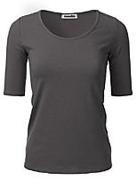 cheap -women's 1/2 sleeve scoopneck cotton basic slim fit t-shirt top charcoalgrey s