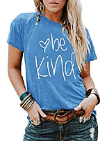 cheap -womens be kind t shirt short sleeve letter print summer tops inspirational graphic tees blue
