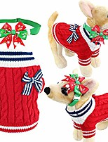 cheap -christmas navy pet dog cat sweater and adjustable bow tie collar or headband for dogs cats pets & #40;xxs, navy red& #41;