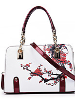 cheap -Women's Bags PU Leather Top Handle Bag Pattern / Print Zipper for Daily / Date Black / Purple / Red / Green