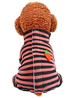 cheap -Dog Coat Jumpsuit Stripes Casual / Daily Cute Casual / Daily Winter Dog Clothes Breathable Black Pink Costume Polyster XS S M L XL