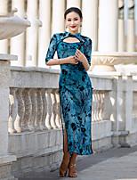 cheap -Latin Dance Dress Split Pattern / Print Women's Performance Half Sleeve Stretch Yarn