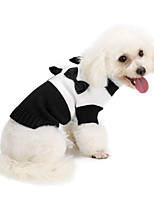 cheap -Dog Coat Sweater Bowknot Casual / Daily Cute Casual / Daily Winter Dog Clothes Warm Black Costume Polyster XS S M L XL XXL