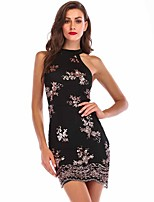 cheap -Women's A-Line Dress Short Mini Dress - Sleeveless Floral Embroidered Summer Sexy Party Club 2020 Black Gold Rainbow S M L XL