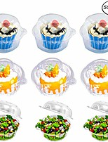 cheap -individual cupcake container - single compartment cupcake carrier holder box with lid use for sandwich hamburgers fruit salad party favor cake - stackable - deep dome - clear plastic (pack of 50)