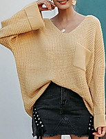 cheap -Women's Basic Pocket Knitted Solid Color Plain Pullover Long Sleeve Loose Sweater Cardigans V Neck Fall Winter Yellow Blushing Pink