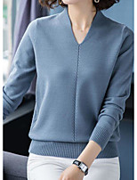 cheap -Women's Stylish Knitted Solid Colored Plain Sweater Long Sleeve Sweater Cardigans V Neck Fall Winter Blue